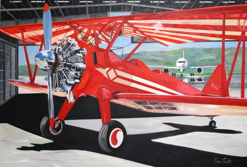 Stearman at the back of the hanger.|Original oilon linen canvas painting by artist Paul Smith.|72 x108 inches (183 x 275cm).|£ POA.
