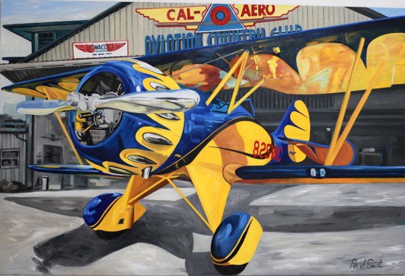 Waco at Aviation Country Club.|Original oilon linen canvas painting by artist Paul Smith.|72 x108 inches (183 x 275cm).|£ POA.
