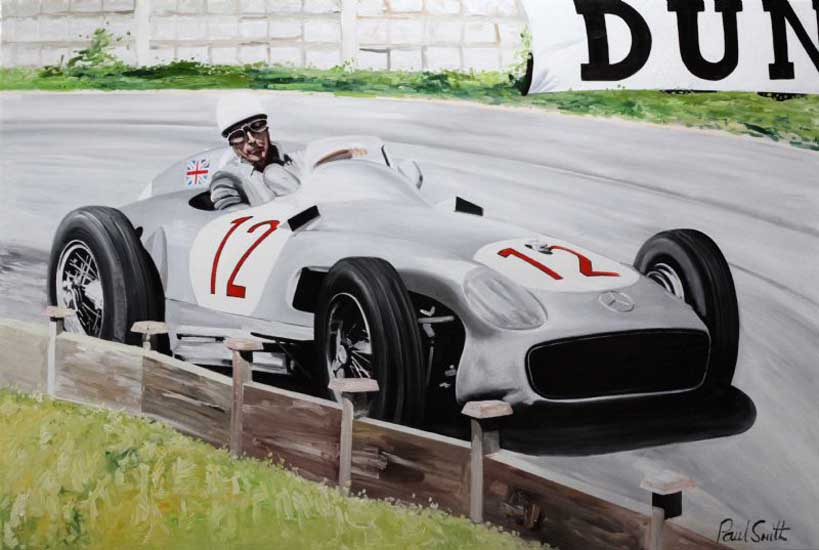 1955 British GP Stirling Moss at Aintrea. 48 x72 inch (122 x183 cm). SOLD