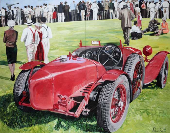 Alfa Romeo 2300 Monza and spectators.|Oil on canvas.|Diptych.|Painted on two seperate canvases.|Overall 183 x 234cm(72 x 92inches).|�SOLD.
