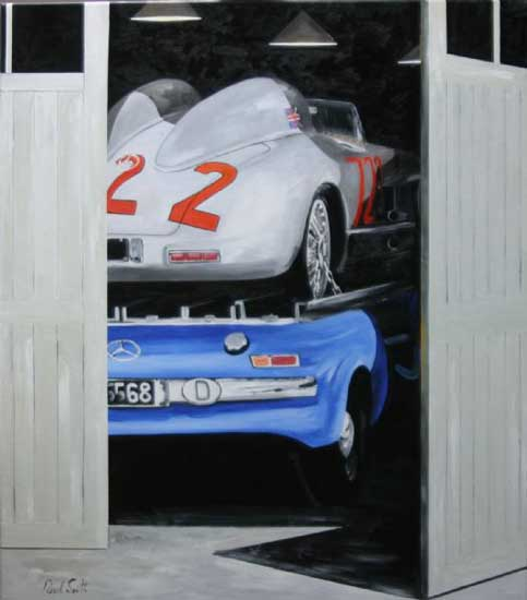 Mercedes Benz 300SLR and the Renntransporter. 46 x 42 inches (117 x 107cm). SOLD