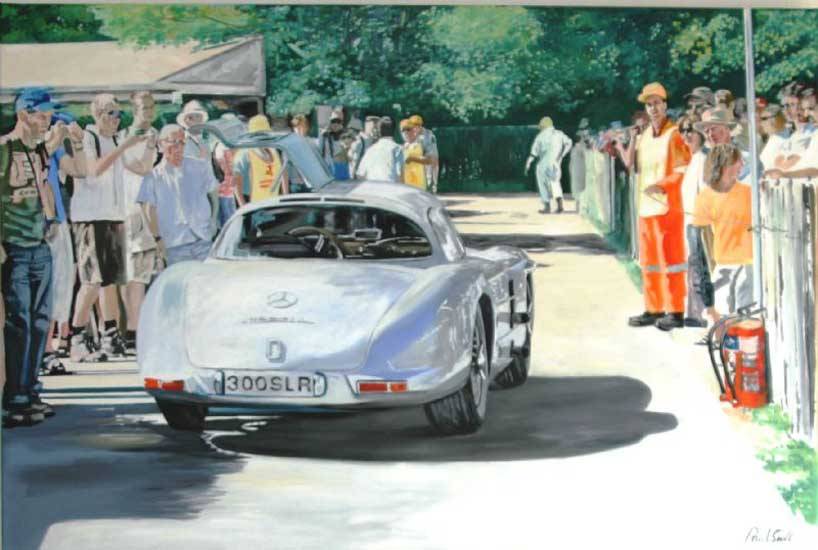 Mercedes Benz 300 SLR Uhlenhaut Coupe. 48 x 72 inches (122 x 183 cm). SOLD