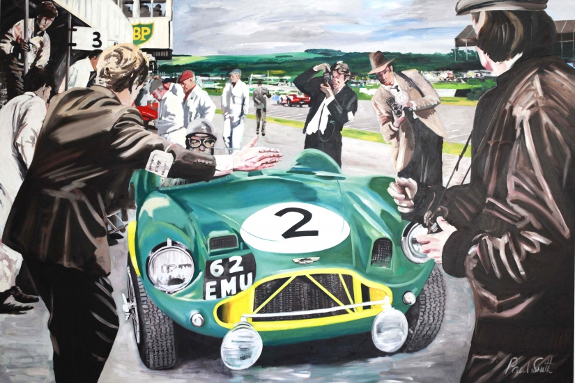 1955 Goodwood 9 hours,pit stop for the winning Aston Martin DBR 3 driven by Peter Collins and Tony Brooks|Oil on canvas 72 x 108 inches ( 183 x 275cm)|SOLD
