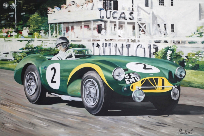 1955 Goodwood 9 hours,the winning Aston Martin DB3 driven by Peter Collins and Tony Brooks|Oil on Canvas, 72 x 108 inches (183 x 275 cm )|SOLD