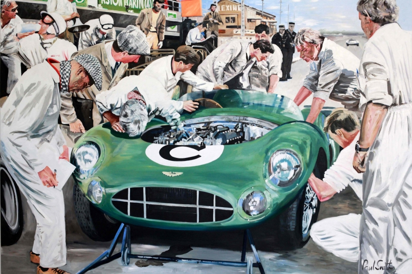 Le Mans 24 hours 1959,pit stop for Carroll Shelby and Roy Salvadori and the winning Aston Martin DBR1|Oil on canvas, 72 x 108 inches ( 183 x 275 cm)|SOLD