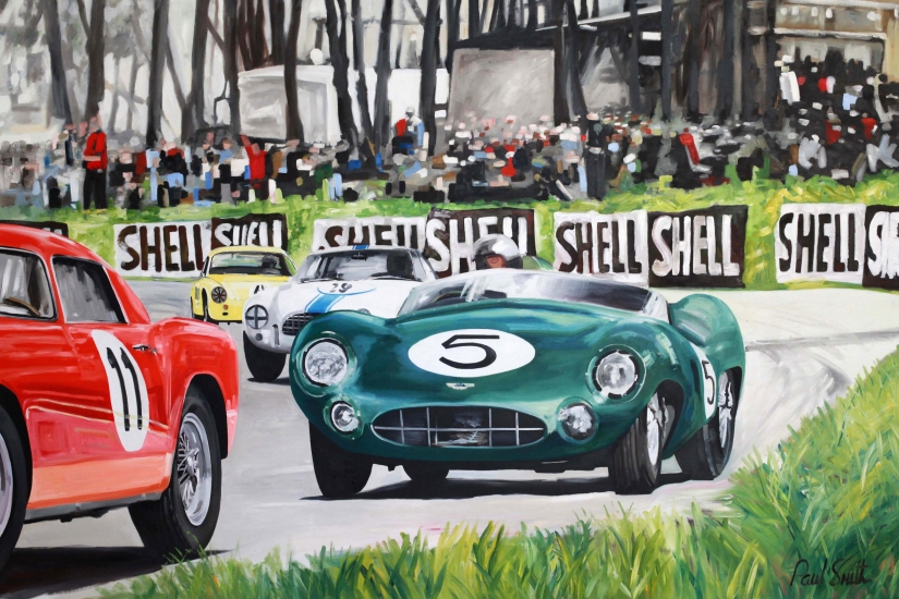 Le Mans 24 hours 1959, Carrol Shelby drives the winning Aston Martin DBR1|Oil on canvas, 72 x 108 inches (183 x 275 cm)|SOLD