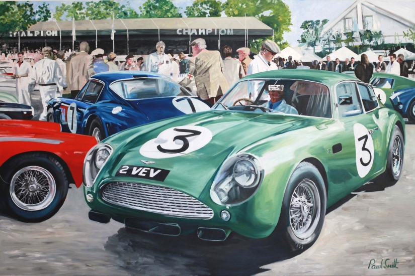 1961 Goodwood TT,Paddock scene before the race,Jim Clark drives the Aston Martin DB4GT Zagarto|Oil on canvas, 72 x 108 inches (183 x 275 cm)|SOLD