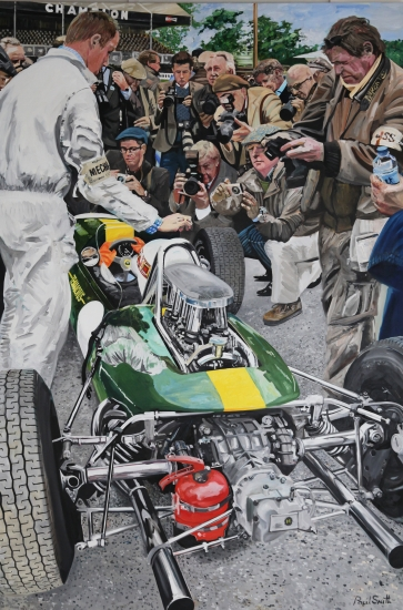 1964 Lotus-Climax33 at Goodwood Revival.|Original oil on Linen Canvas Painting by Paul Smith.|108 x 72 inches ( 275 x 183 cm).|For sale � SOLD