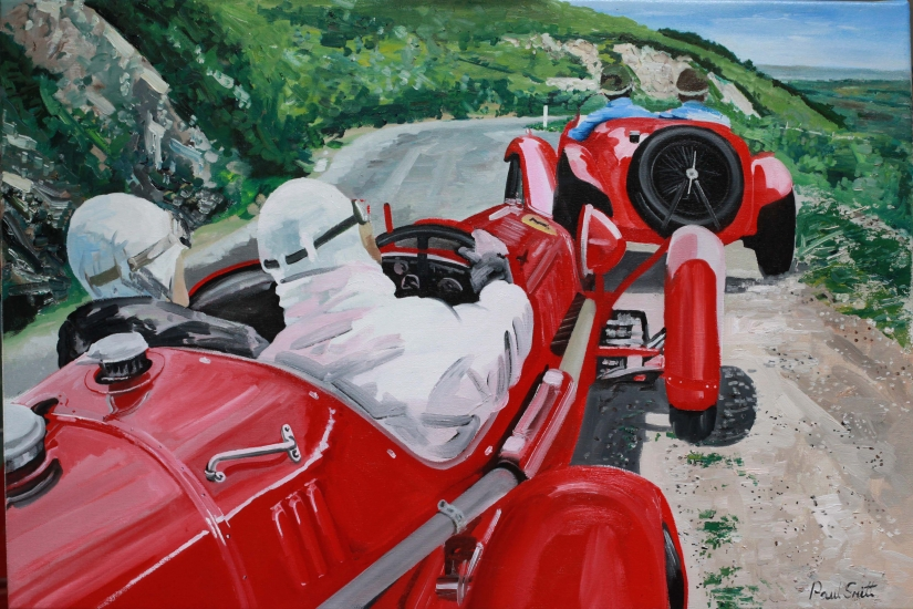 Mille Miglia 1936 Alfa Romeo 2900B.|What a race.|what a great car, I can just imagine the scream of supercharged motor,change down a gear just before the bend  and overtake the car in front.|Oil on canvas.|24 x 36 inches (61 x 91cm)|� Sold