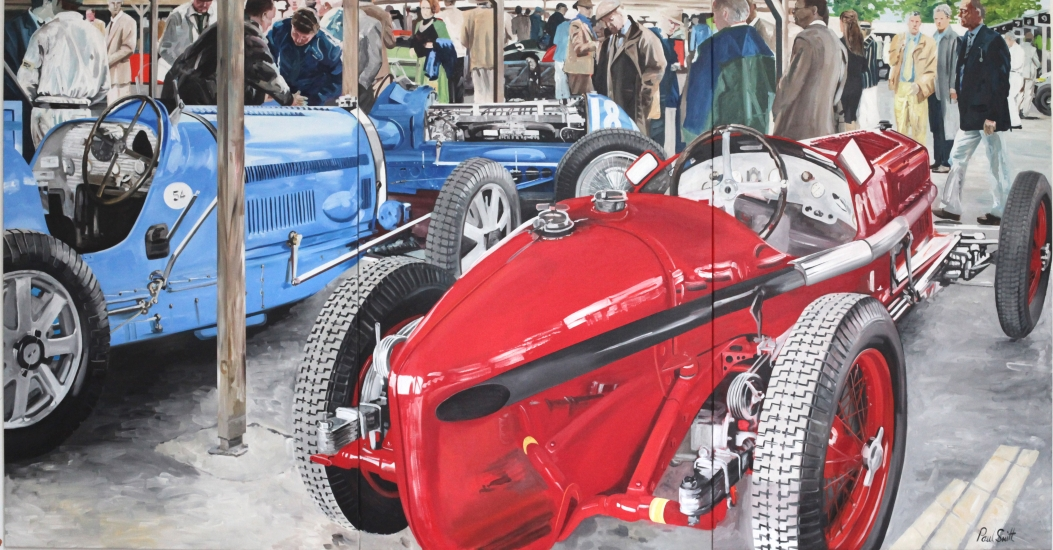 Alfa Romeo and Two Bugatti| Oil on Canas|Painted on three seperate panels|Overall 72 x 138 inches ( 183 x 350 cm)|SOLD