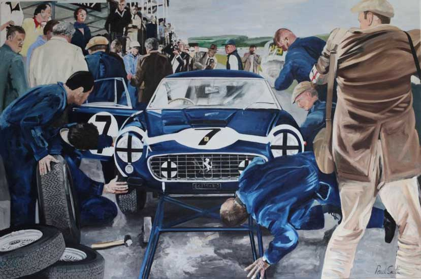 August 19th 1961.|Victory for Stirling Moss at the legendary Goodwood TT.|Stopping for a pit stop for fuel and tyres.|Oil on Canvas.|72 x 108 inches 183 x 274 cm. SOLD