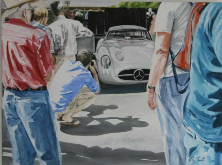 Mercedes at Goodwood. 36 x 46 inches (91 x 117 cm). SOLD