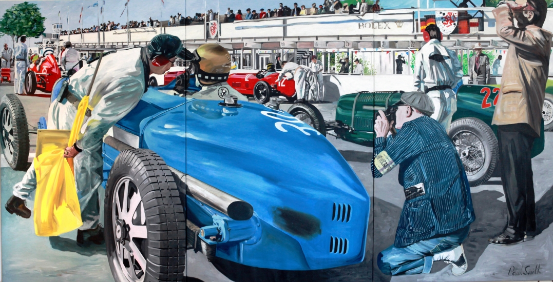 Bugatti Type 54,on the starting grid with other GP cars at Goodwood|Triptych, Painted on 3 seperate canvases|72 x 144 inchs ( 183 x 366cm)|� SOLD