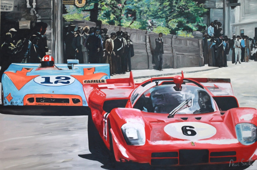 1970 Targa Florio.|The wining Gulf Porsche 908 Spyder,driven by|Joe Siffert and Brian Redman.|With Ferrari 512s driven by local hero Vaccarella, race through Campofelice high street.|72 x 108 inches ( 183 x 275 cm )|Oil on canvas|� POA
