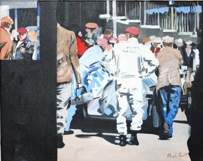 Paddock scene with Auto Union.|16 x 20 inches (41 x 51 cm).| Oil on canvas.|� POA.