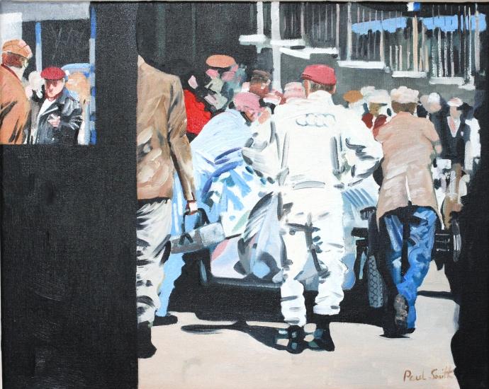 Paddock scene with Auto Union. 16 x 20 inches (41 x 51 cm).  Oil on canvas. � POA.