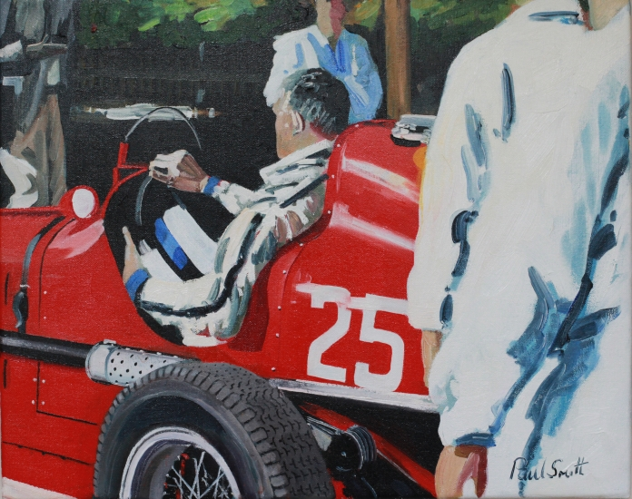 Paddock scene with Maserati.|16 x 20 inches (41 x 51 cm).|Oil on canvas.|�SOLD.
