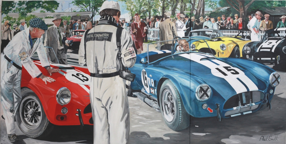 1964 AC Cobra with Jochen Mass at Goodwood.|Triptych, painted on 3 seperate canvases.|72 x 144 inches (183 x 366cm).|� POA