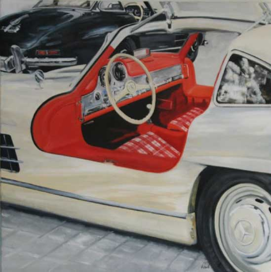 Mercedes Benz 30 SL Gullwing. 46 x 46 inches (117 x 117 cm). SOLD