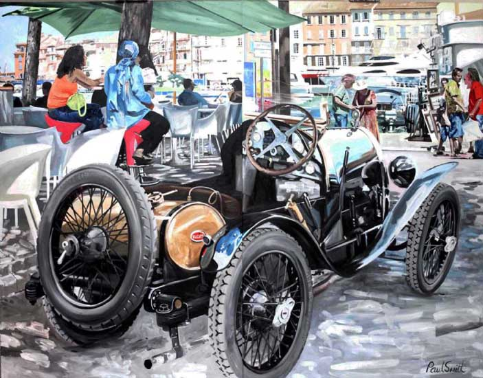 Bugatti Brescia in St Tropez..|Diptych, Painted on two seperste canvases,Overall 72 x 92 inches (183 x 234 cm). �SOLD
