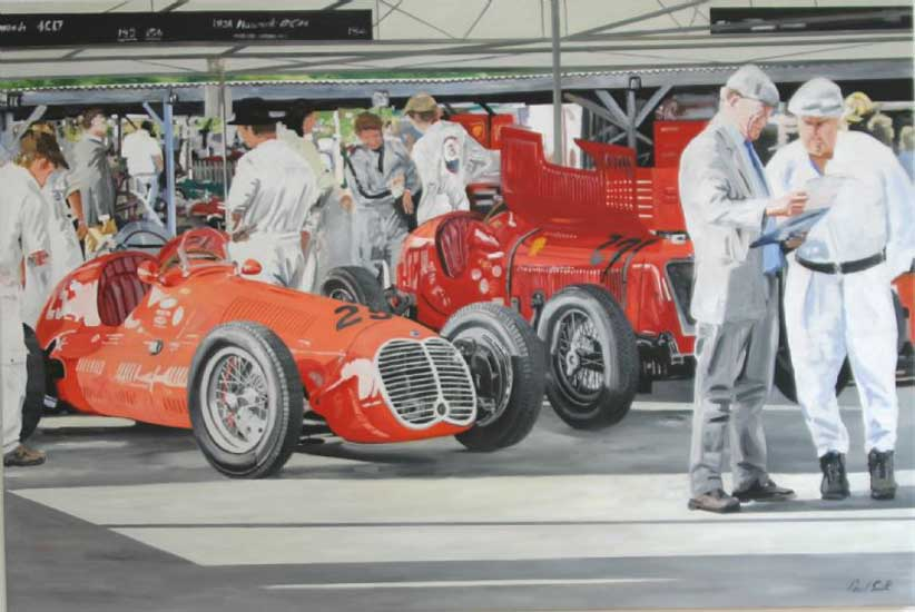 Maserati at Goodwood Revival. Oil on canvas 48 x 72 inches (127 x 183 cm). SOLD
