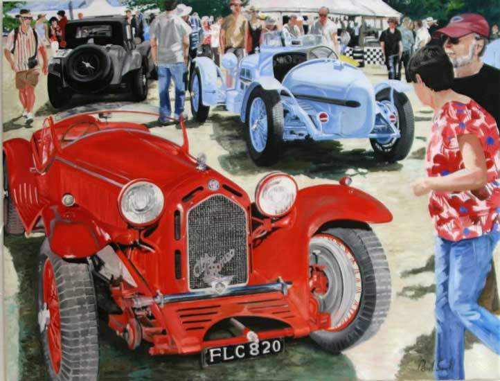 Alfa Romeo at Goodwood. Oil on canvas 46 x 60 inches (117 x 152). SOLD