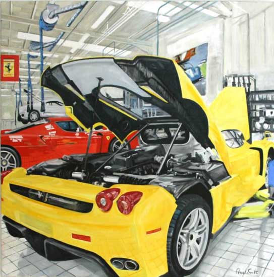 Ferrari Enzo at Marrnello. Oil on canvas 46 x 46 inches ( 117 x 117 cm). SOLD