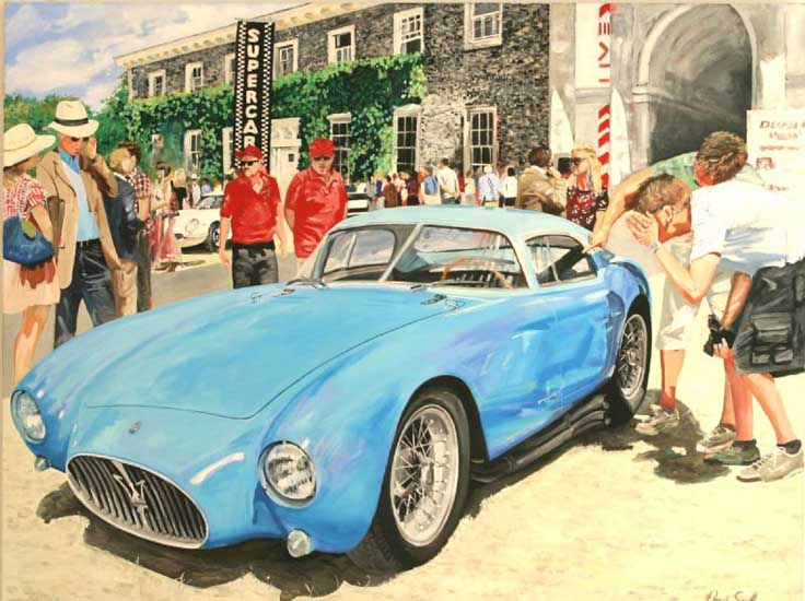 1954 Maserati A6GCS Berlinetta at Goodwood. Oil on canvas 46 x 60 inches (117 x 152). SOLD