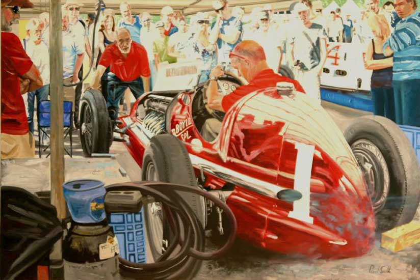 Maserati 8CTF Boyle Special at Goodwood . Oil on canvas 48 x 72 inches (127 x 183 cm). SOLD