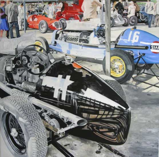 ERA at Goodwood (composition 1). Oil on canvas 72 x 72 inches (183 x 182 cm). SOLD