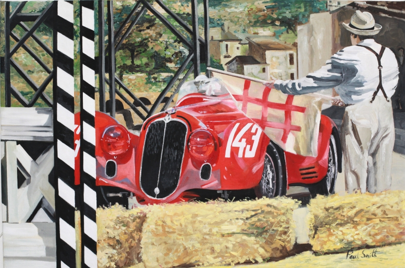 Mille Miglia 1938, Alfa Romeo 2900 MM Touring.| Harzard warning at entrance to the bridge at Popoli.|Oil on canvas.|24 x 36 inches (61 x 91cm).|Sold