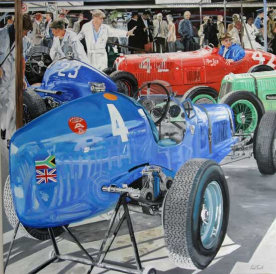 ERA at Goodwood (composition 2). Oil on canvas 72 x 72 inches (183 x 182 cm). SOLD