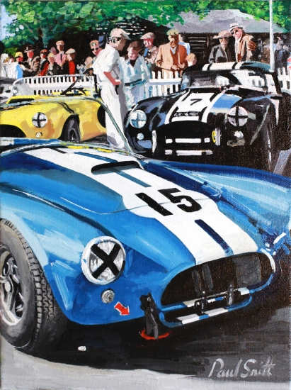 AC Cobra, In the paddock at Goodwood.|Oil on Canvas.| 16 x 12 inches (40 x 30 cm.|Price � Solg