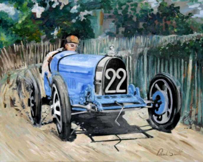 Bugatti T35,Lyon 1924 GP. 24 x 30 inch ( 61 x 76 cm). SOLD