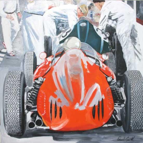 Ferrari F1 245 Dino. 46 x 46 inches (117 x 117 cm). SOLD