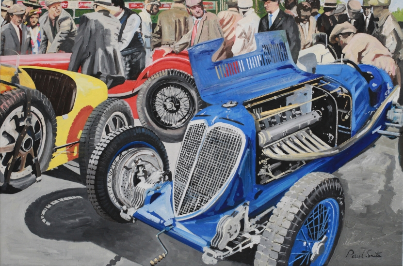 Targa Florio 1935. Paddock scene with Maserati and Bugatti. Oil on Canvas. 24 x 36 inches (61 x 91 cm). � Sold