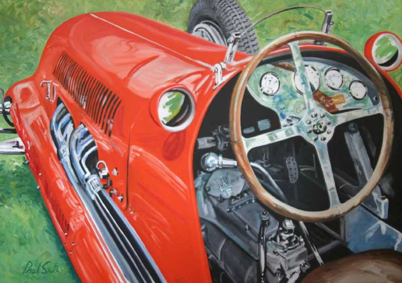 1938 Maserati 8c composition 2. Oil on canvas 46 x 65 inches (117 x 165cm). SOLD