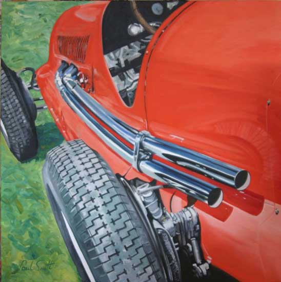 1938 Maserati 8c composition 3. Oil on canvas 46 x 46 inches (117 x 117cm). SOLD