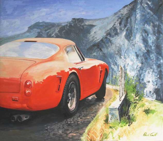 Ferrari 250 SWB on the edge . Oil on canvas 42 x 48 inches (107 x 122cm). � POA