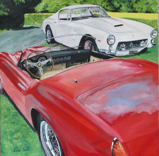 Ferrari 250 GT California Spyder and 250 GT SWB.. Oil on canvas 36 x 36 inches (92 x 92 cm). � POA