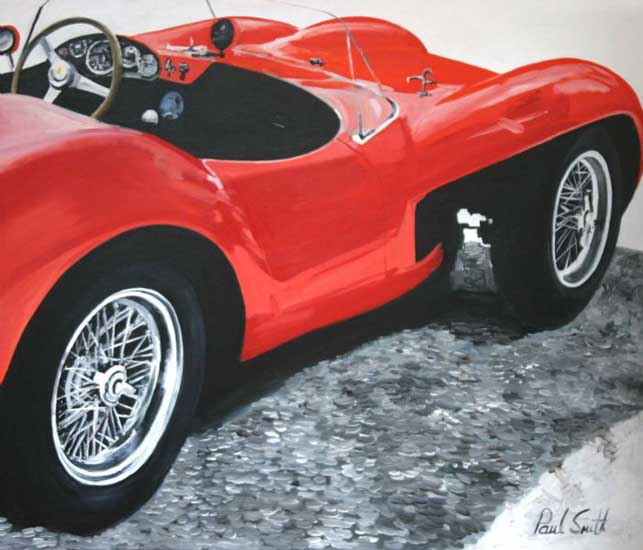 Ferrari 250 V12 Testa Rossa composition 1. Oil on canvas 36 x 42 inches (91 x 107 cm). � POA
