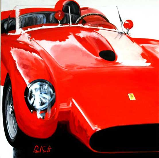 Ferrari 250 V12 Testa Rossa composition 3. Oil on canvas 36 x 36 inches (91 x 91 cm). SOLD