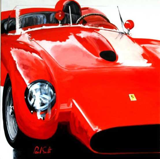 Ferrari 250 V12 Testa Rossa composition 3. Oil on canvas 36 x 36 inches (91 x 91 cm). SOLD