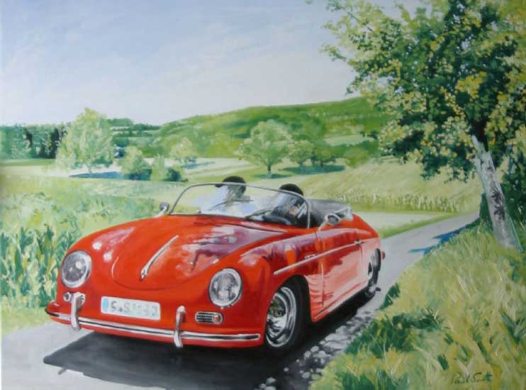 Sunny afternoon drive in Weissach. 91 x 117 (36 x 48 inches ). SOLD