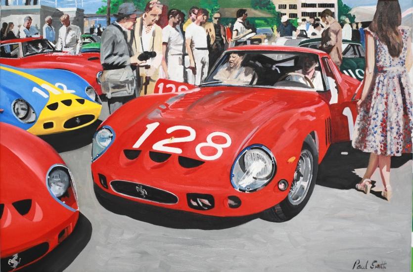 Targa Flori 1964. GTO Ferrari before the start.|OIl on Canvas.|24 x 36 inches (61 x 91cm).|� Sold