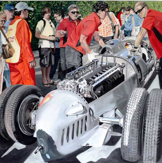 1936 Auto Union Type C at Goodwood,|Oil on canvas.|72 x 72 inches 183 x 183 cm. �POA
