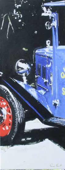 Old Blue Van Front. Oil on canvas 46 x 18 inches ( 117 x 46 cm ). �POA
