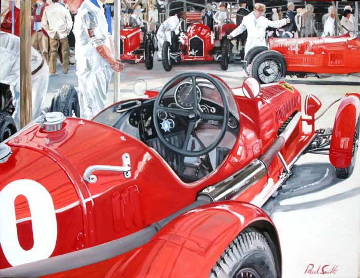 Alfa Romeo at Goodwood. 46 x 60 inches (117 x 152). SOLD