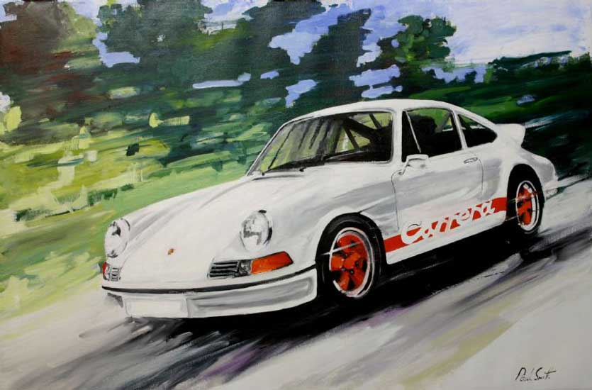 Porsche 911 Carrera RS. Oil on canvas 28 x 42 inches ( 71 x 107cm ). SOLD