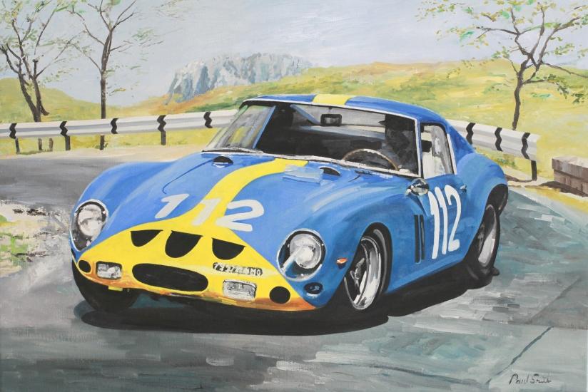 Targa Florio 1964, Ferrari 250 GTO.|Oil on Canvas.|24 x 36 inches (61 x 91cm).|� Sold